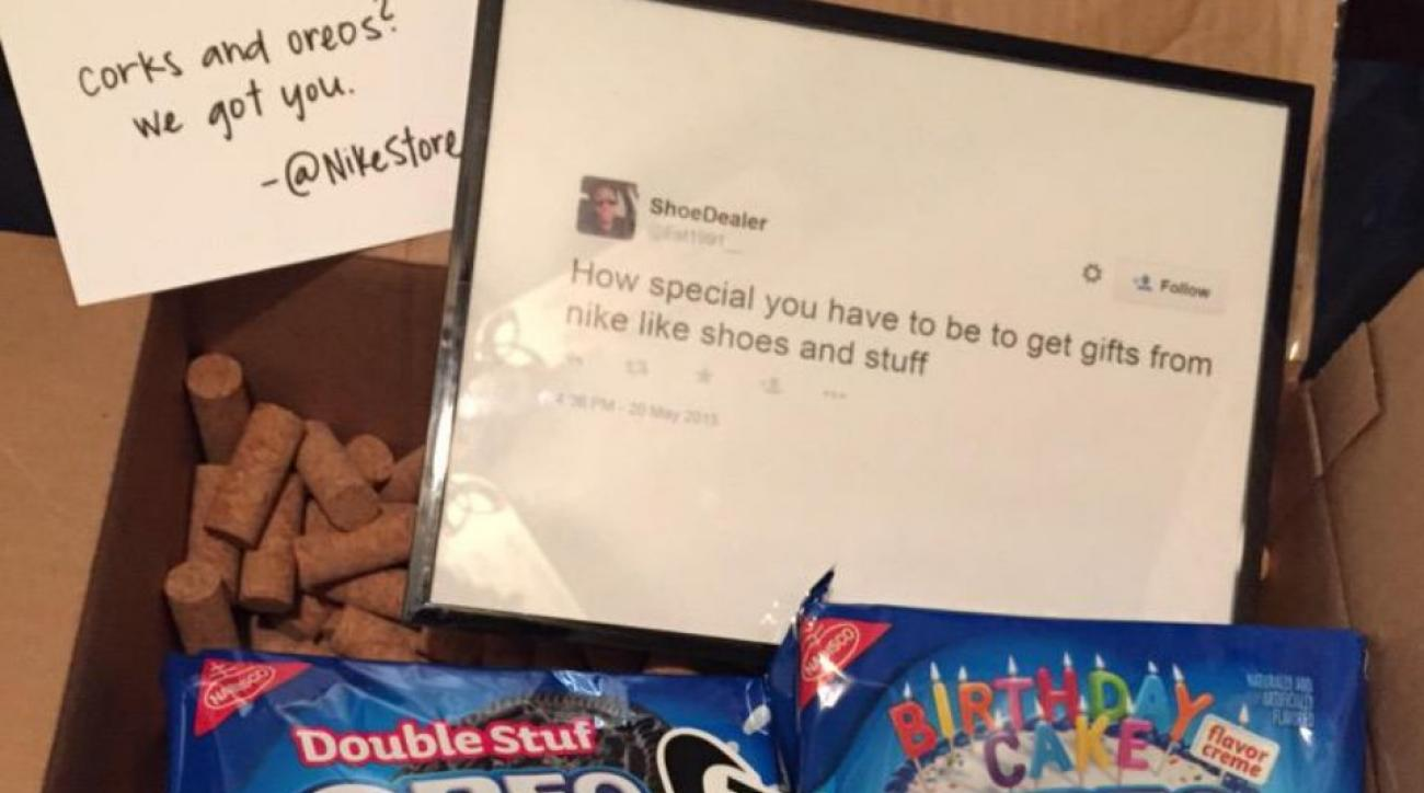 Nike trolls customer with care package of Corks and Oreos