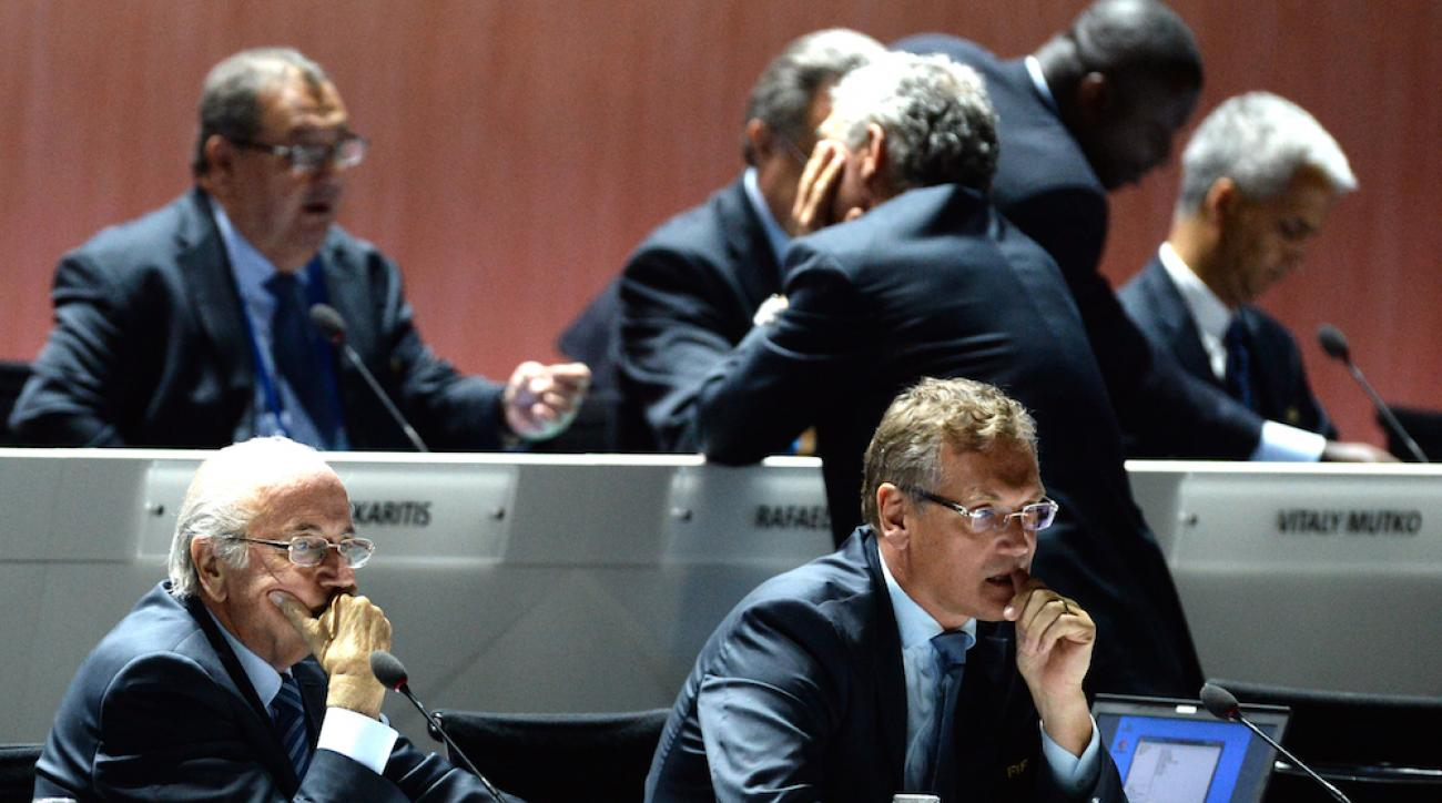 FIFA president Sepp Blatter (left) and FIFA secretary general Jerome Valcke (right) during the FIFA Congress in Zurich, Switzerland, on May 29, 2015.