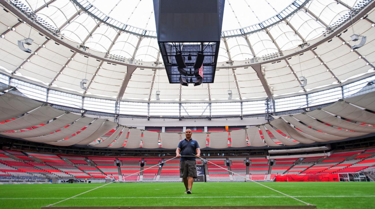 BC Place in Vancouver gets some finishing touches prior to the kick off of the 2015 Women's World Cup.