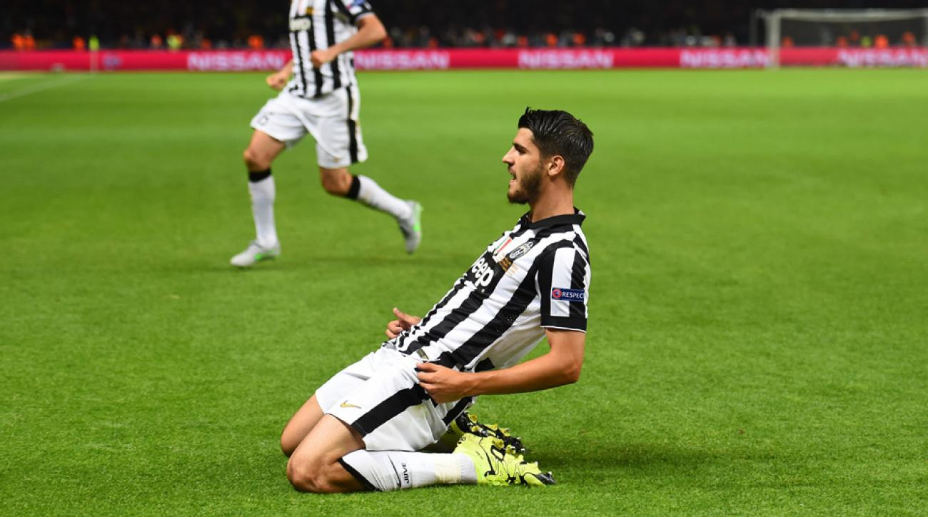 Alvaro Morata scored in the Champions League Final for Juventus against Barcelona.