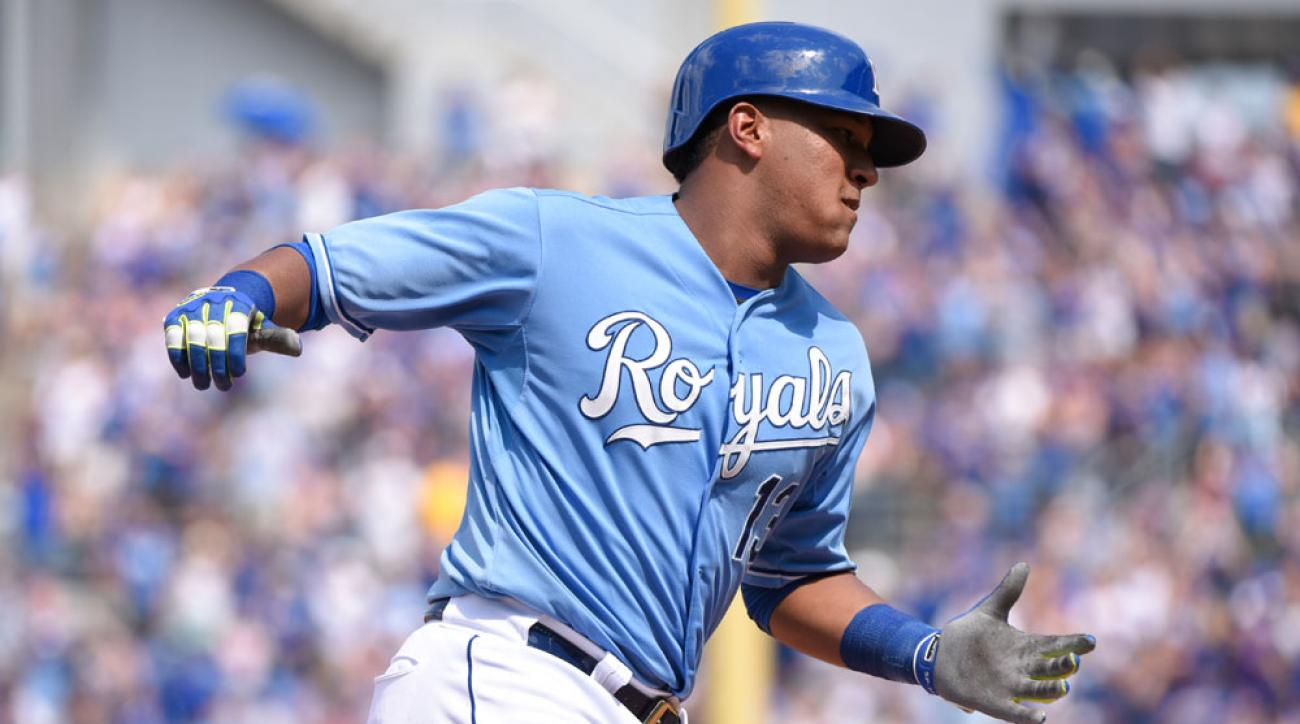 Kansas City Royals catcher Salvador Perez rounds the bases after hitting a home run against the Texas Rangers at Kauffman Stadium on June 7.