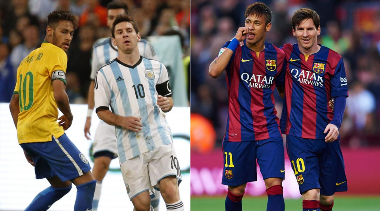 Club teammates turned international adversaries: Barcelona's Lionel Messi and Neymar lead Argentina, Brazil at the 2015 Copa America.