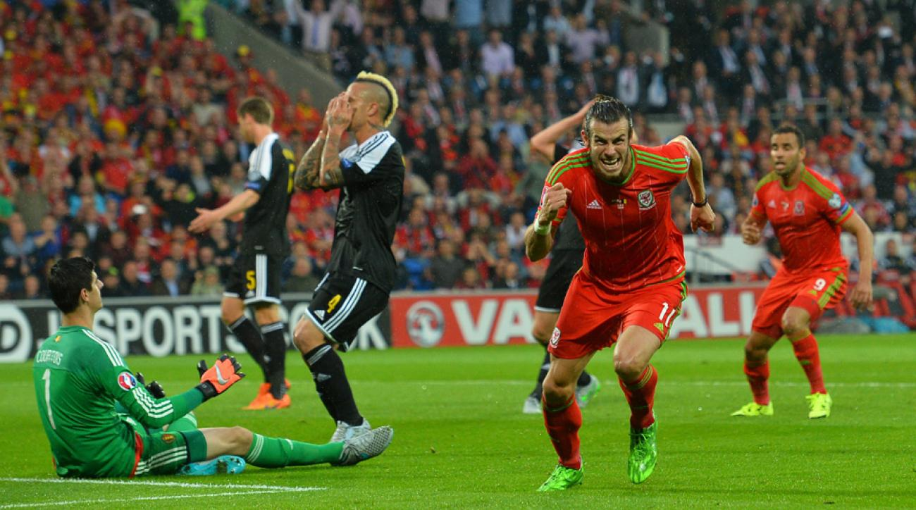 Gareth Bale celebrates his goal for Wales against Belgium in a European Championship qualifying match