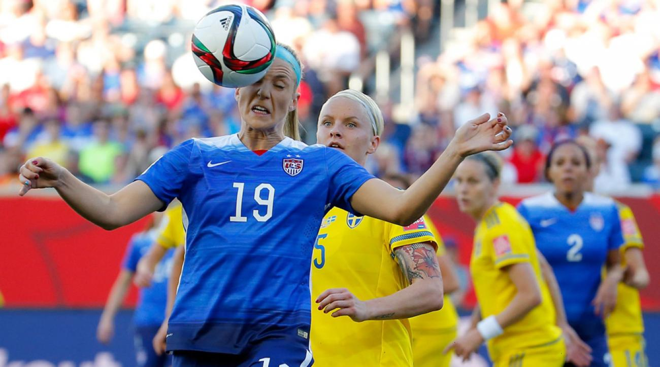 Julie Johnston heads the ball in the USA's 0-0 Women's World Cup draw with Sweden.
