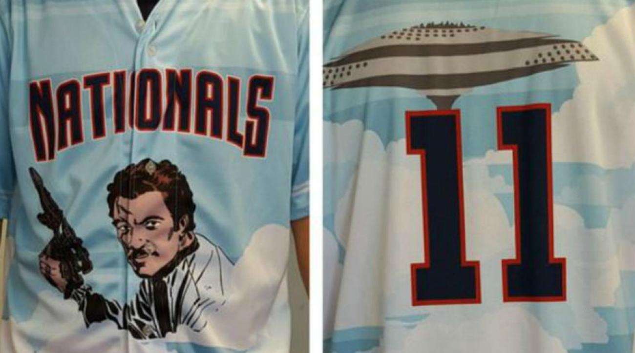 Potomac Nats wearing Star Wars featuring Lando Calrissian jerseys on Sunday