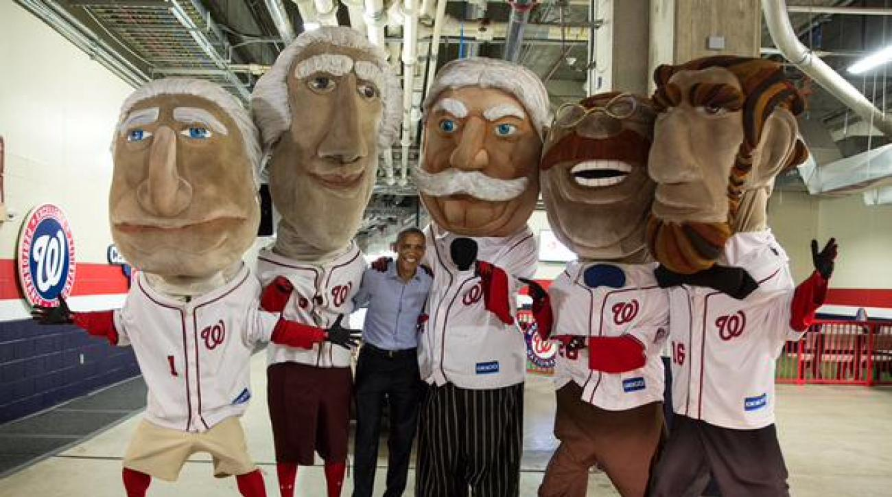 President Obama mat the Washington Nationals racing presidents