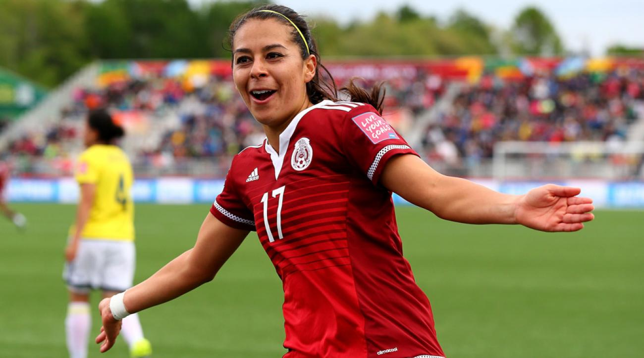 Mexico's Veronica Perez celebrates her goal against Colombia in the Women's World Cup.