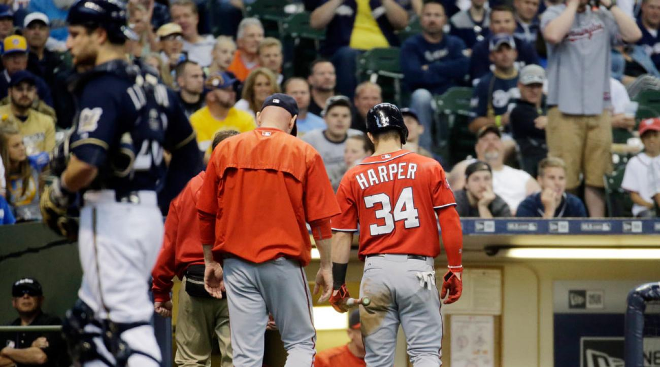 bryce harper hit by pitch washington nationals vs milwaukee brewers