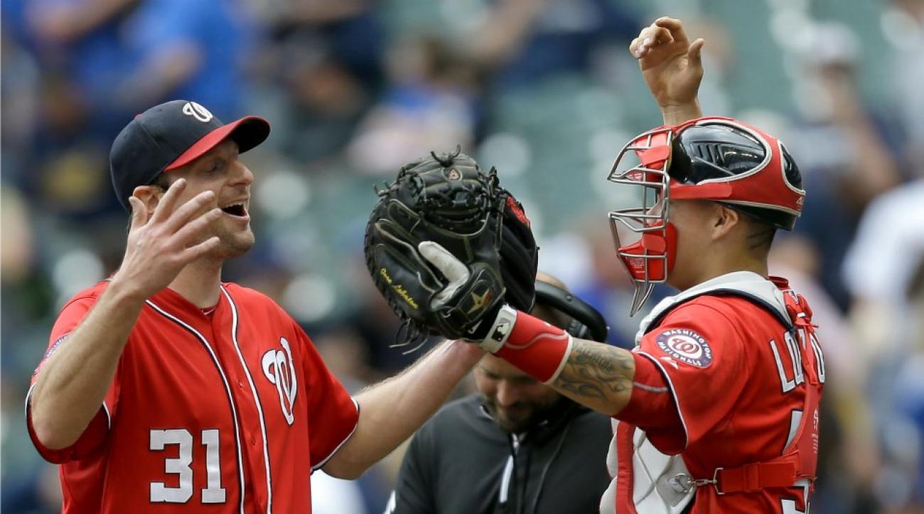Max Scherzer celebrates dominant performance with myriad handshakes