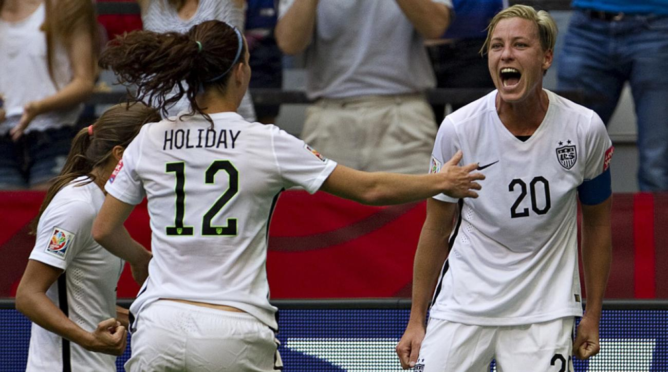 USA's Abby Wambach celebrates her goal against Nigeria in the Women's World Cup