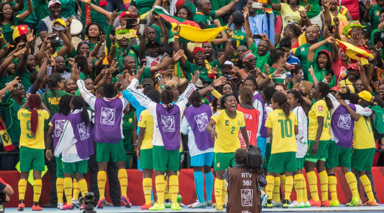 Cameroon celebrates reaching the Women's World Cup knockout stage for the first time