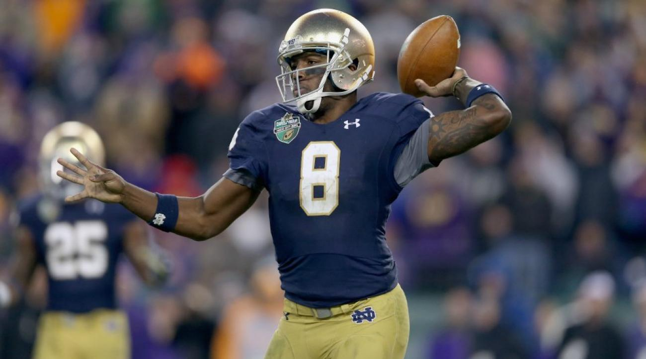 Notre Dame summer camper hit Malik Zaire in head with errant pass
