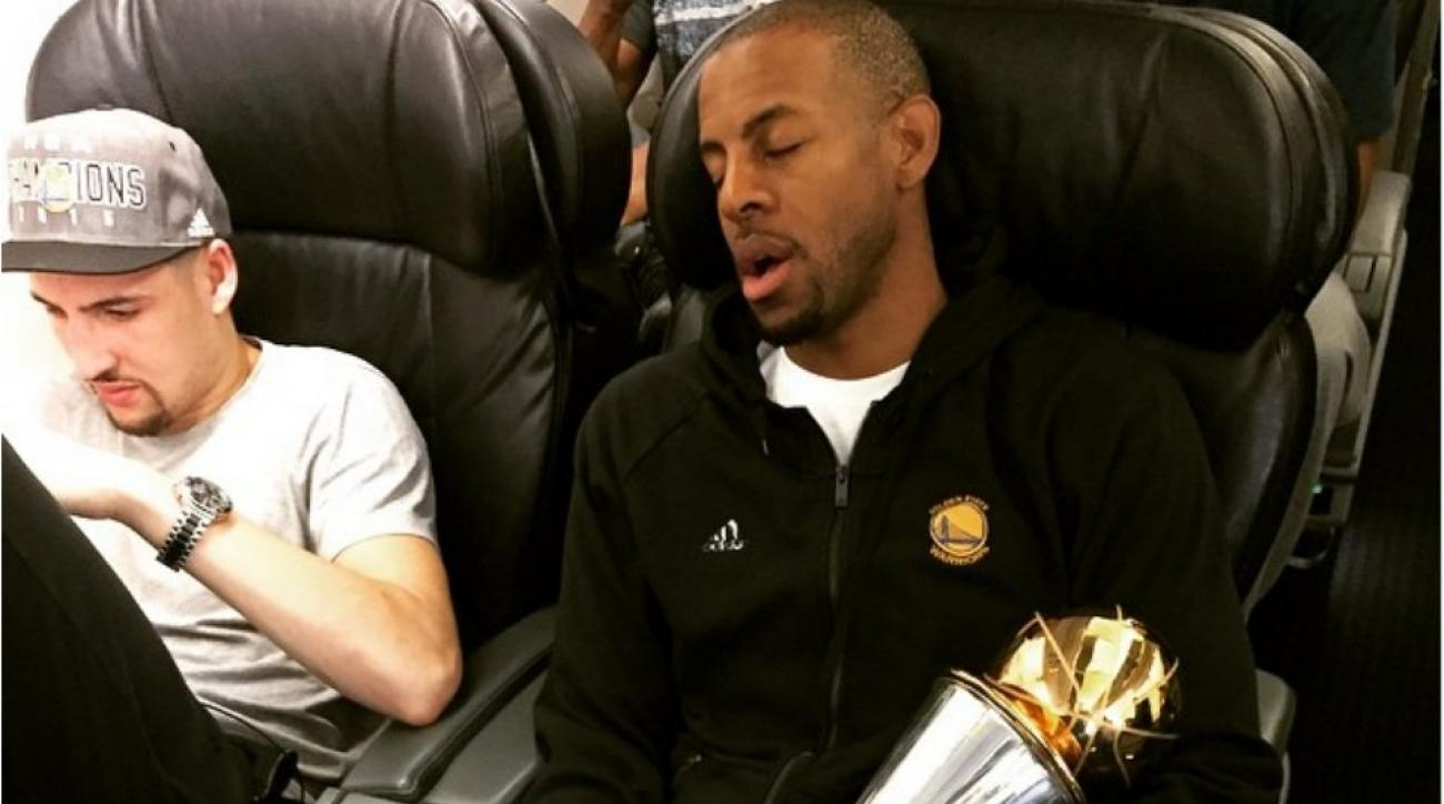 NBA Finals MVP Andre Iguodala sleeps with trophy