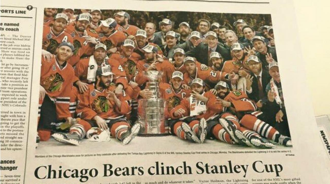 Korean paper confuses Chicago Bears and Blackhawks
