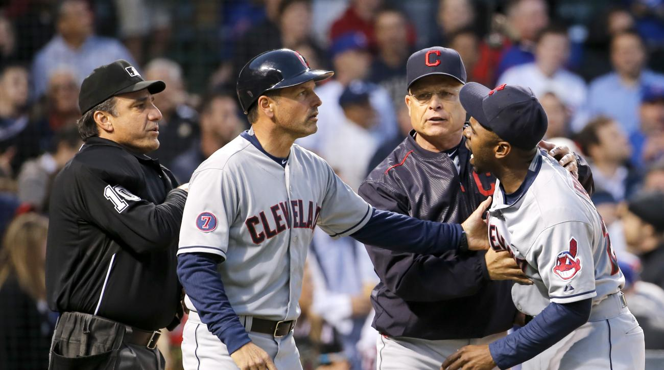 cleveland indians michael bourn suspended umpire