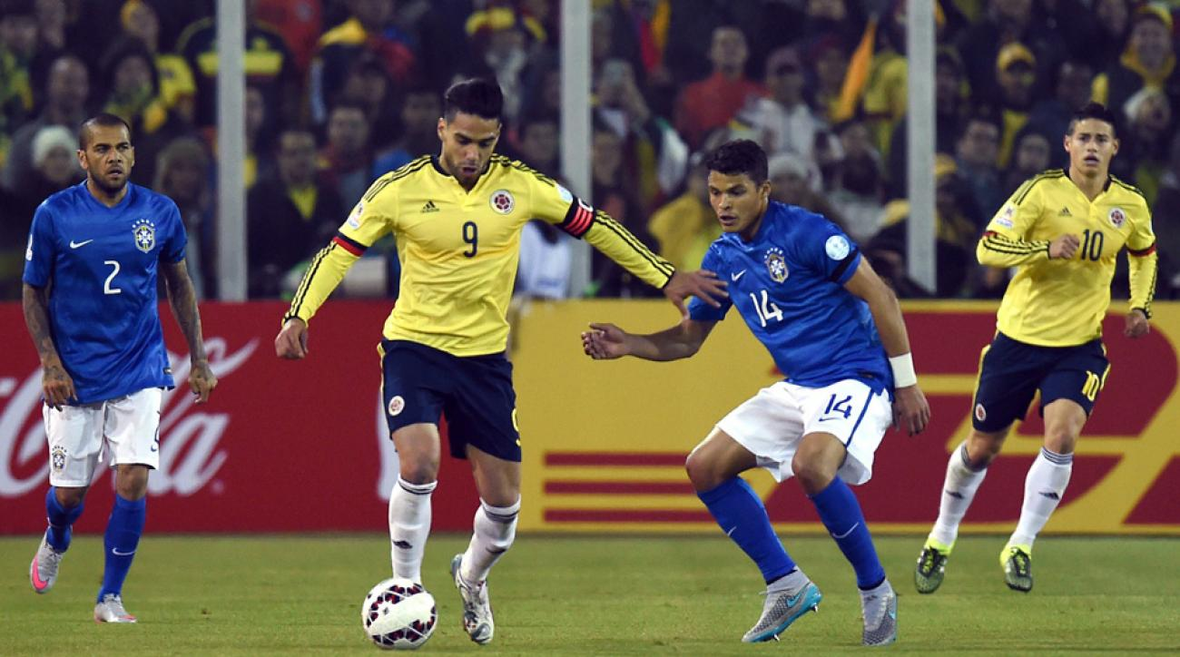 Radamel Falcao plays for Colombia against Brazil at Copa America