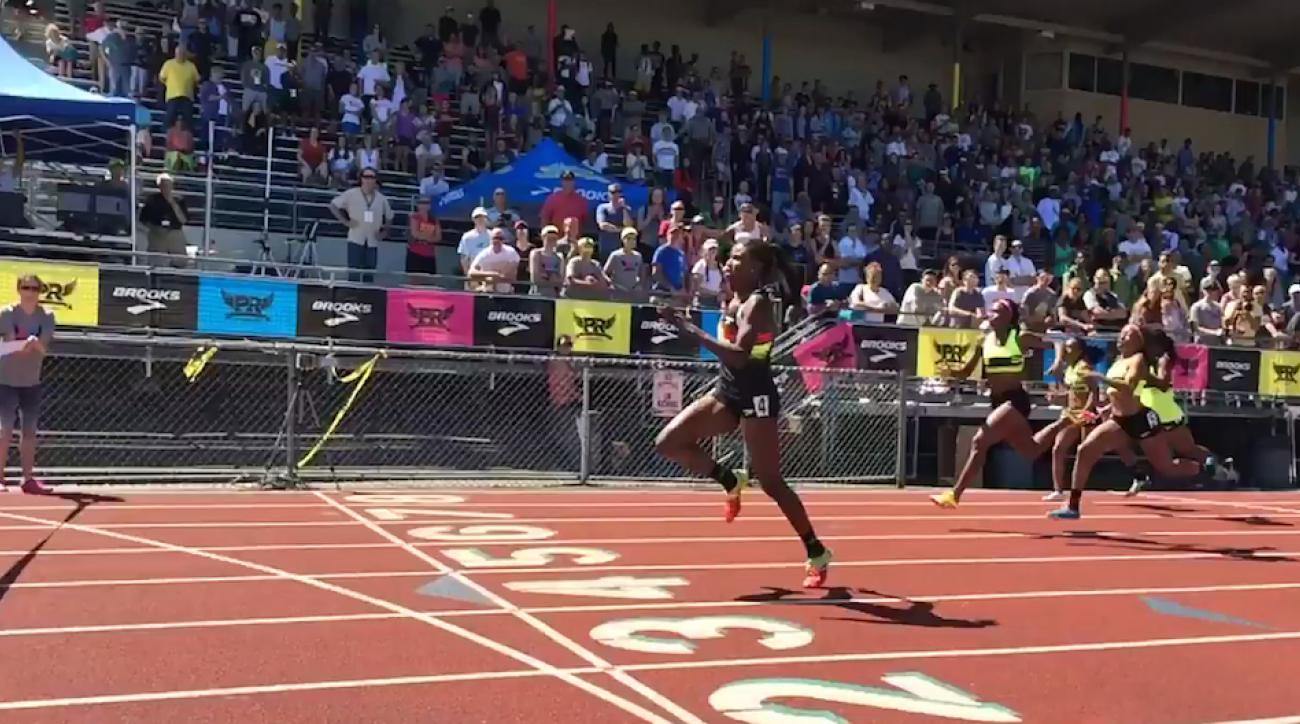 100m dash record candace hill