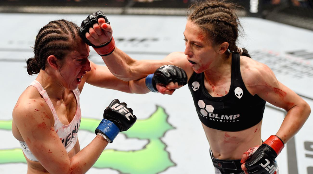 Joanna Jedrzejczyk beat Jessica Penne at UFC Fight Night 69 in Berlin.