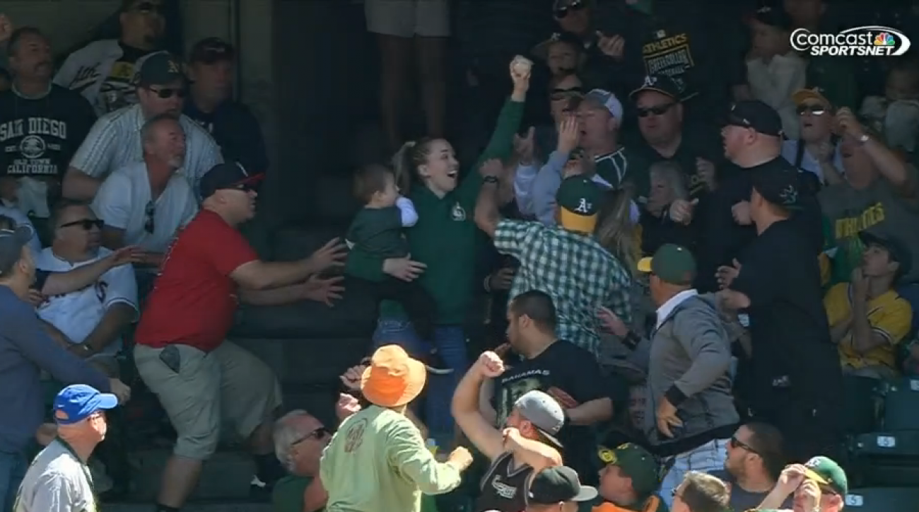 oakland athletics angels fan catch foul ball child video