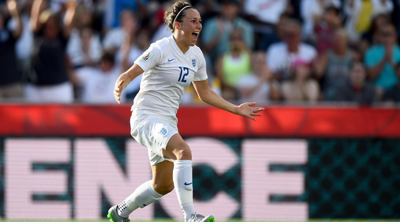 England's Lucy Bronze celebrates her game-winning goal vs. Norway in the Women's World Cup