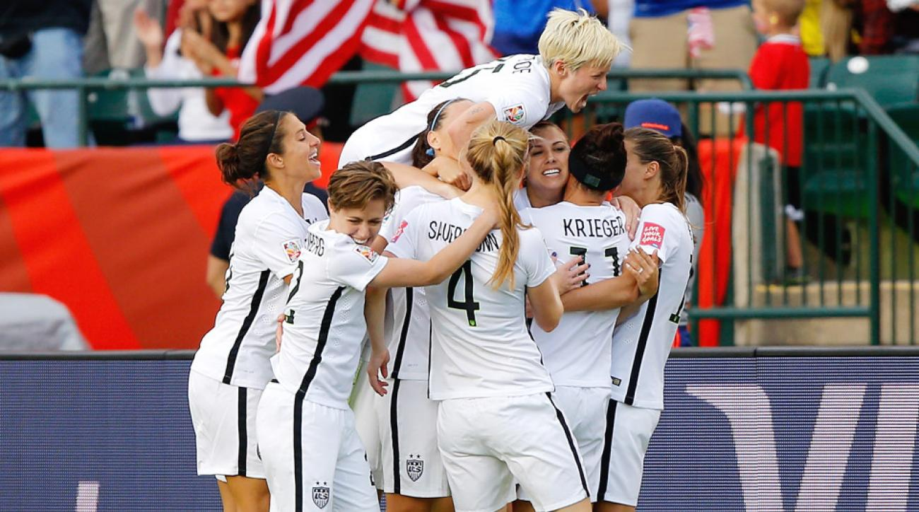 Megan Rapinoe will not play against China after receiving a second yellow card against Colombia.