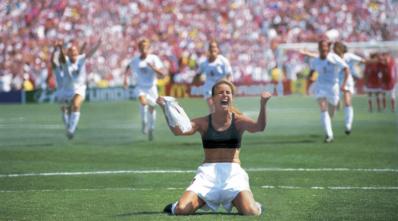 Brandi Chastain celebrates after the winning penalty kick for the USA in the 1999 Women's World Cup final vs. China