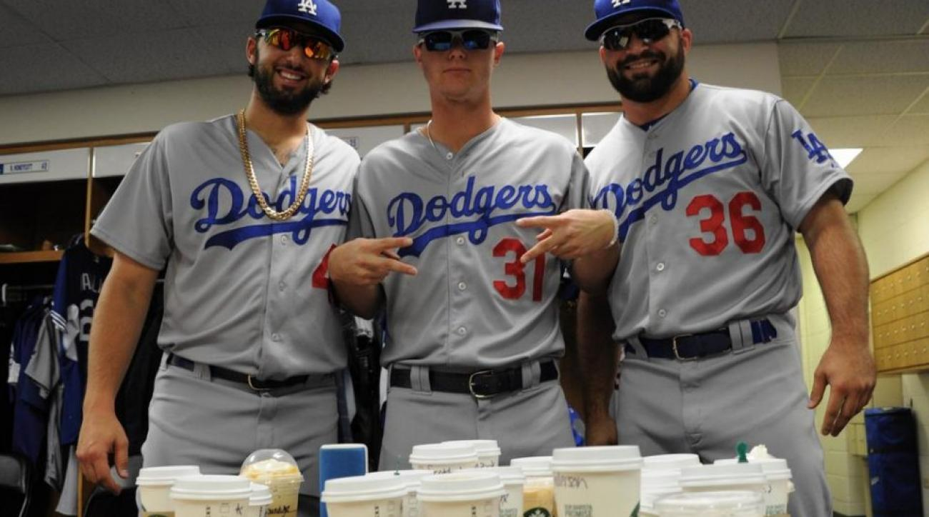 Dodgers rookies make a coffee run in full uniform