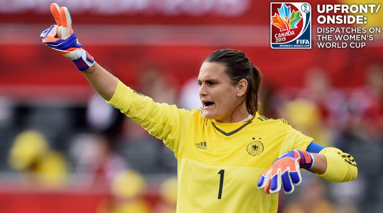 Nadine Angerer backstops Germany against France in the Women's World Cup quarterfinals