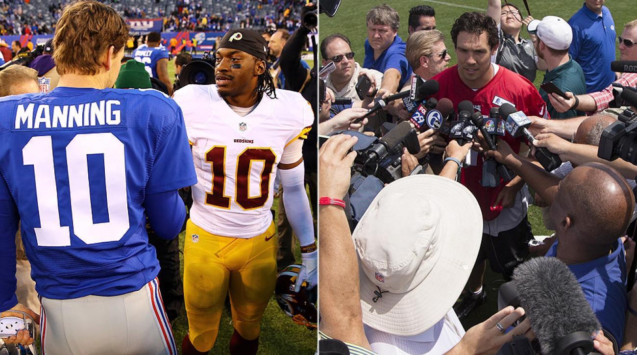 Eli Manning, Robert Griffin III, Sam Bradford: Which NFC East quarterback is under more pressure?