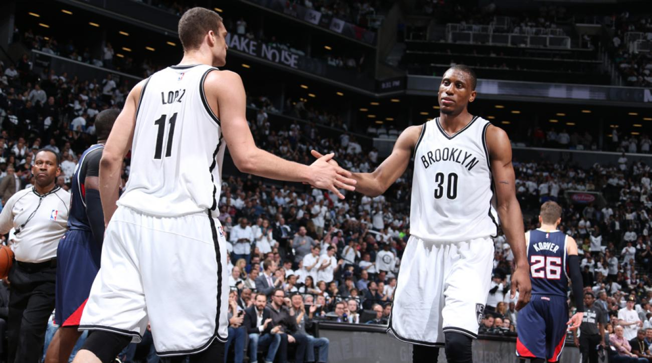brook lopez and thaddeus young leaning to nets return