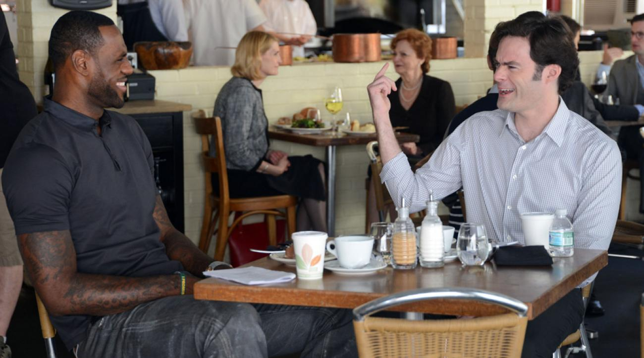 LeBron James and Bill Hader film a scene in Trainwreck.