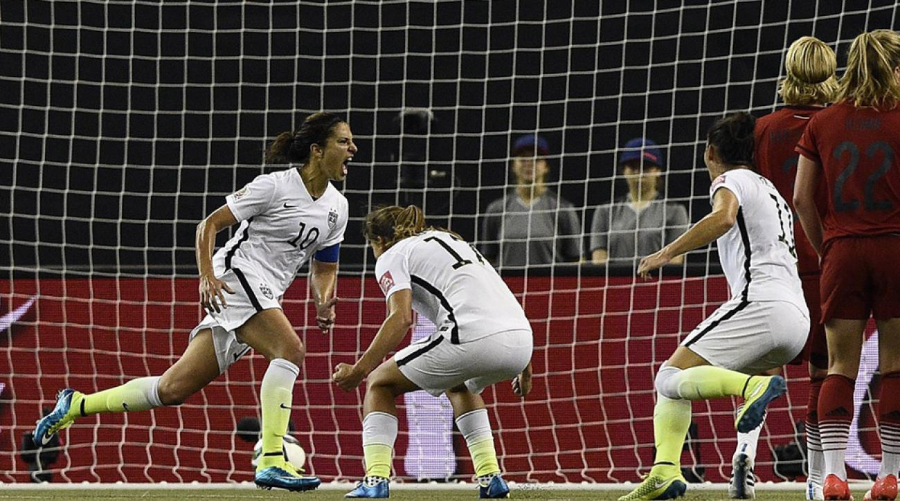USA's Carli Lloyd celebrates her penalty kick goal against Germany in the Women's World Cup semifinals.