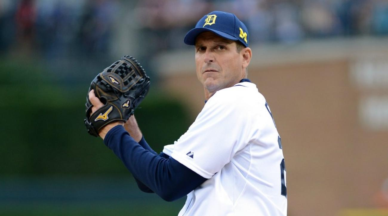 Jim Harbaugh threw out the first pitch at the Tigers game