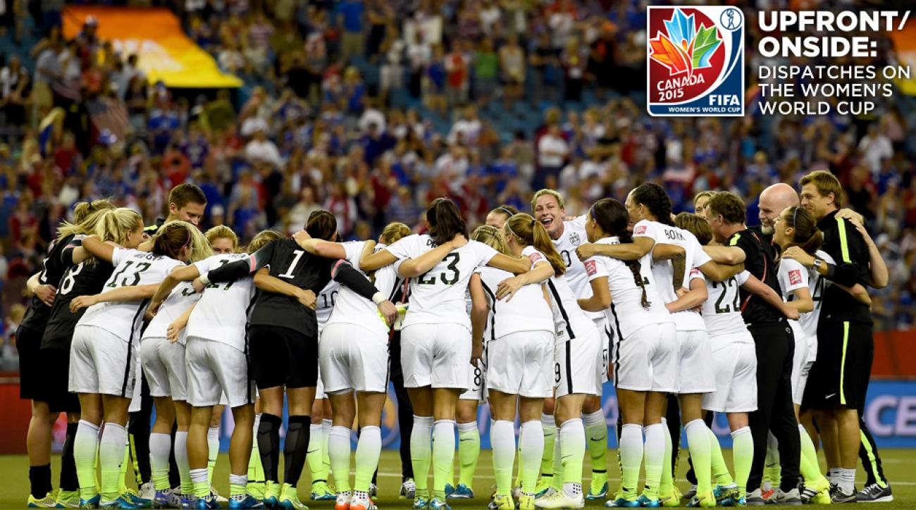USA Women's World Cup team huddles during the semifinal vs. Germany in Montreal