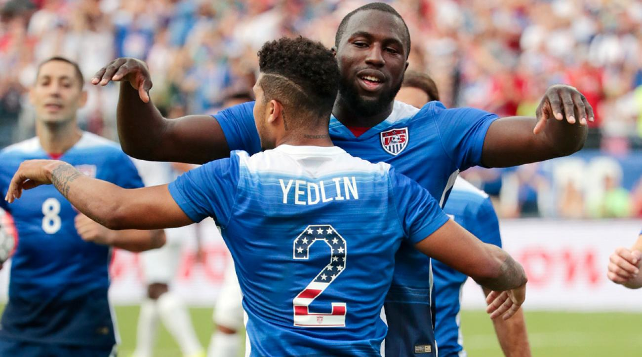 DeAndre Yedlin, Jozy Altidore celebrate during the USA's 4-0 win over Guatemala