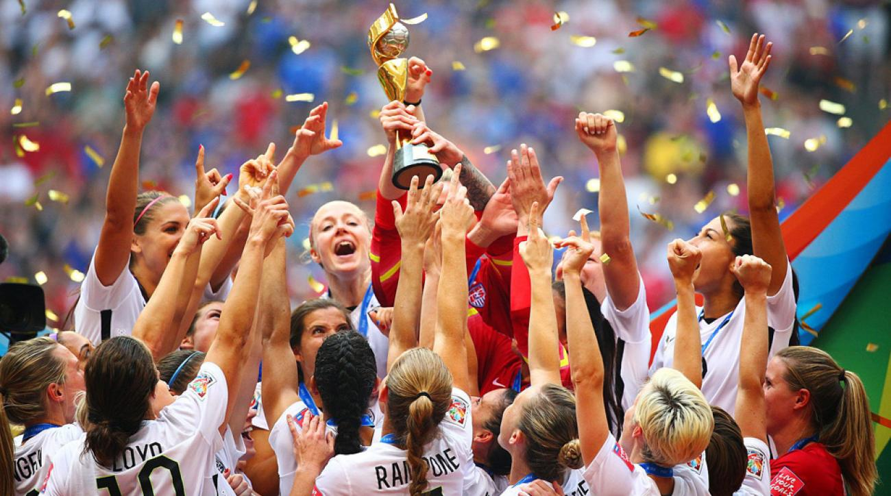 The U.S. women's national team celebrates winning its third World Cup title after beating Japan 5-2 in Vancouver.