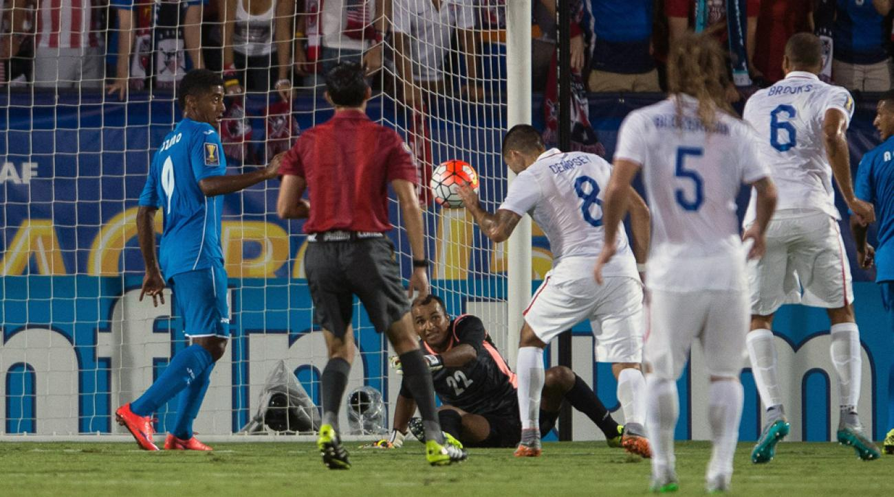 Clint Dempsey heads home the USA's first goal of the 2015 CONCACAF Gold Cup against Honduras