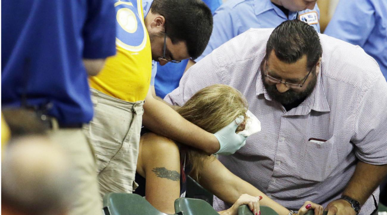 Fan hit by line drive during game