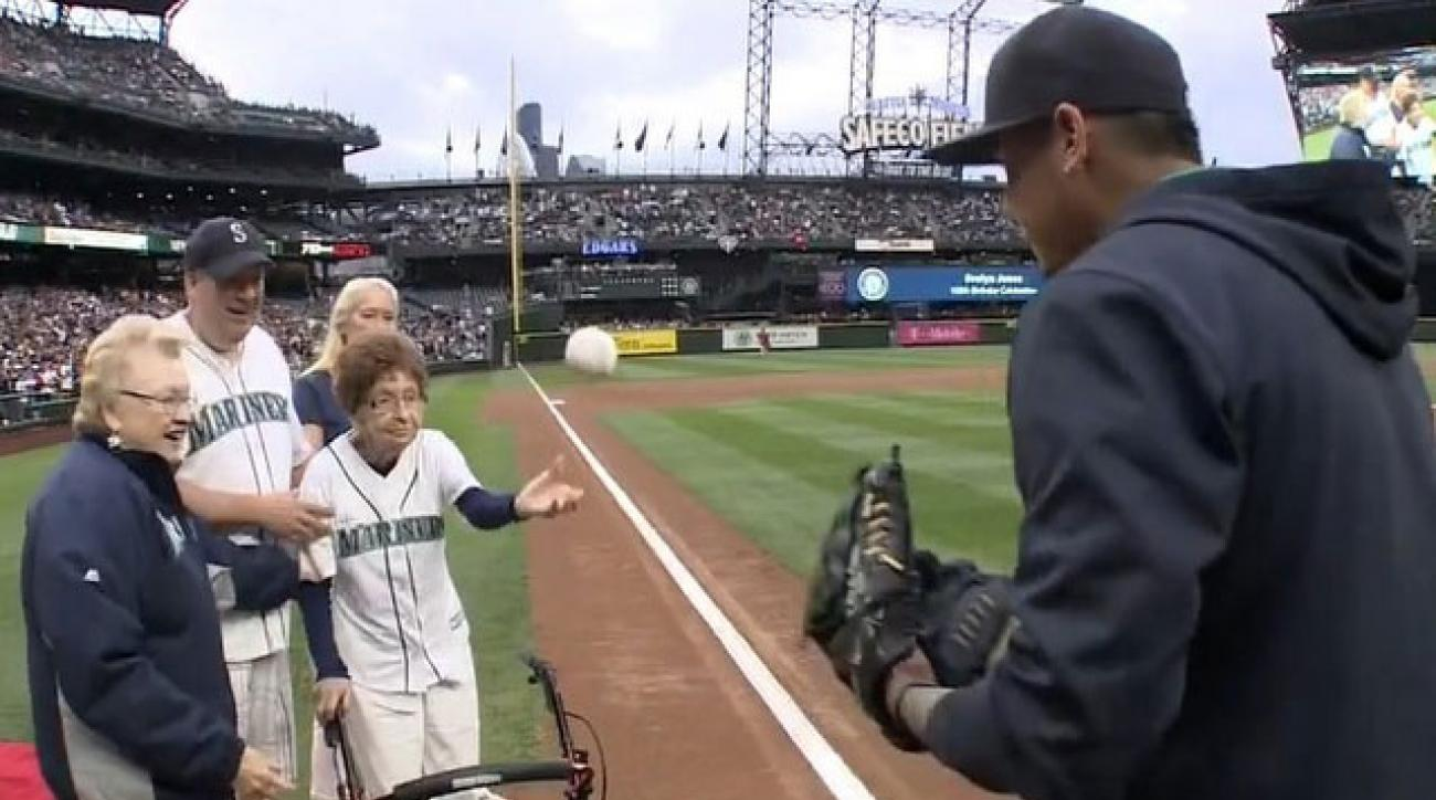 evelyn jones mariners first pitch oldest