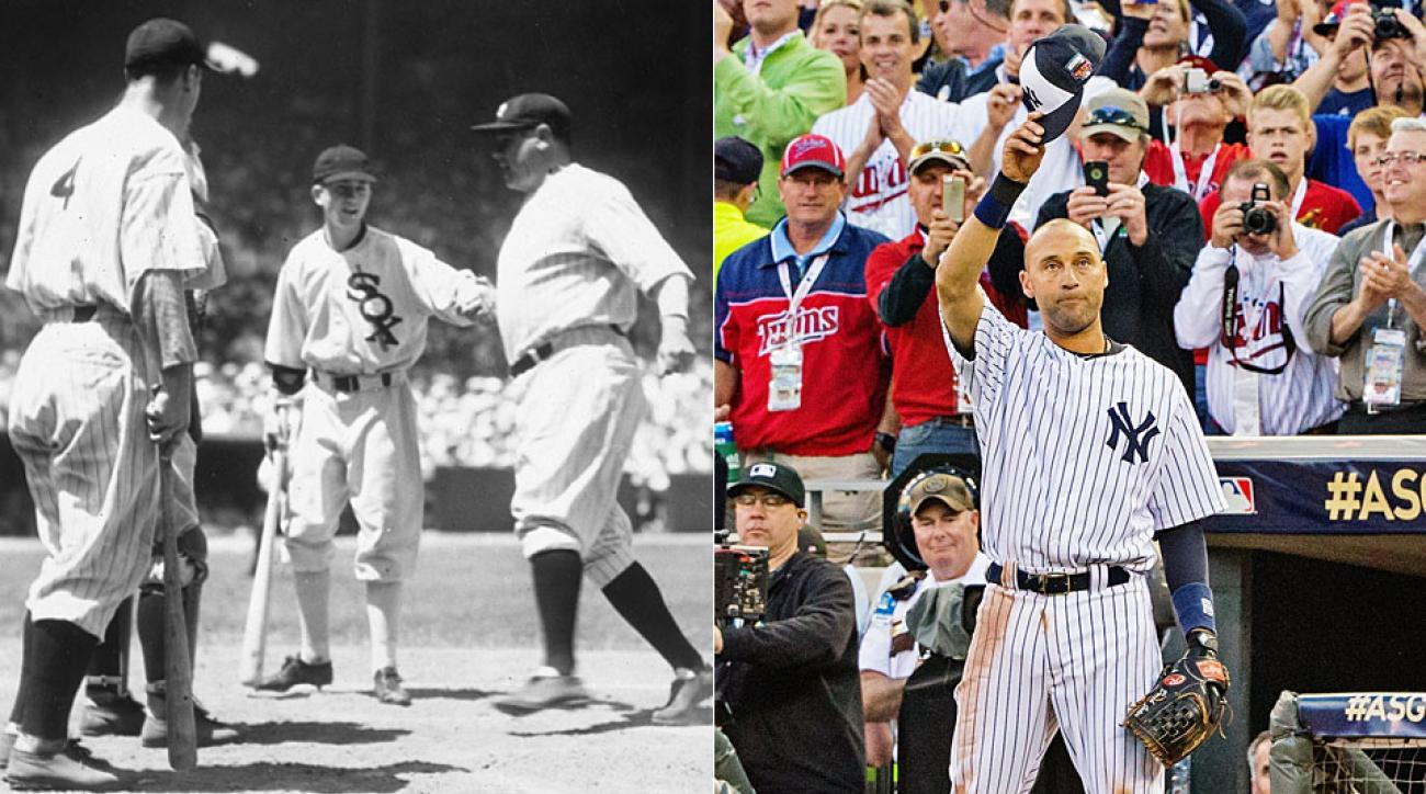 Babe Ruth (left image, far right) stole the show at the first All-Star Game and Derek Jeter did likewise last season.
