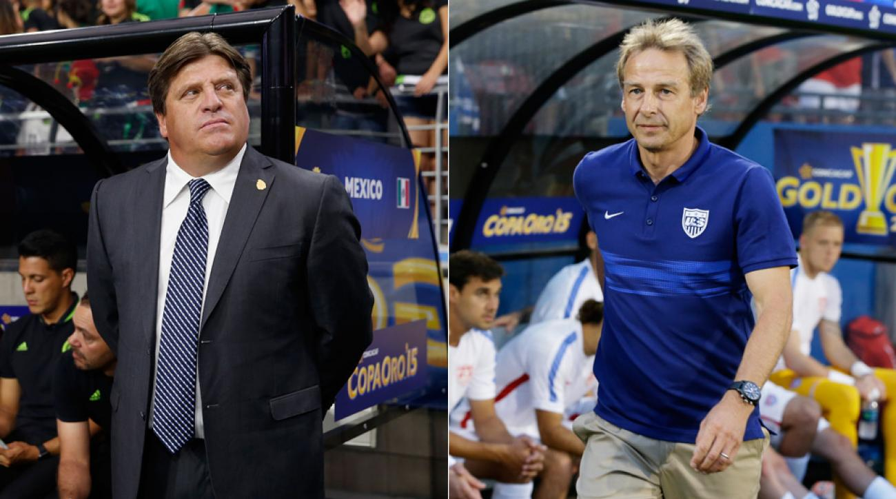 Mexico manager Miguel Herrera and USA manager Jurgen Klinsmann