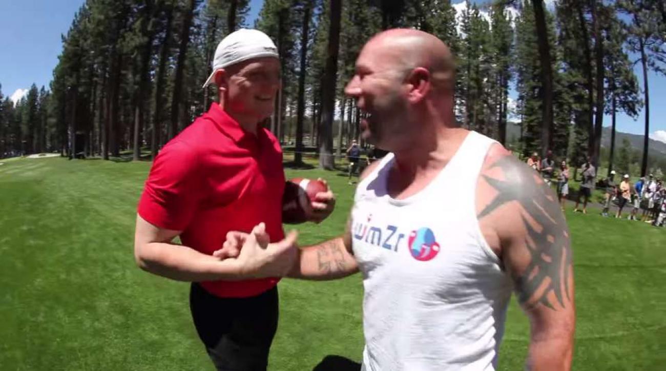 AJ Hawk tackles fan at celebrity golf tournament