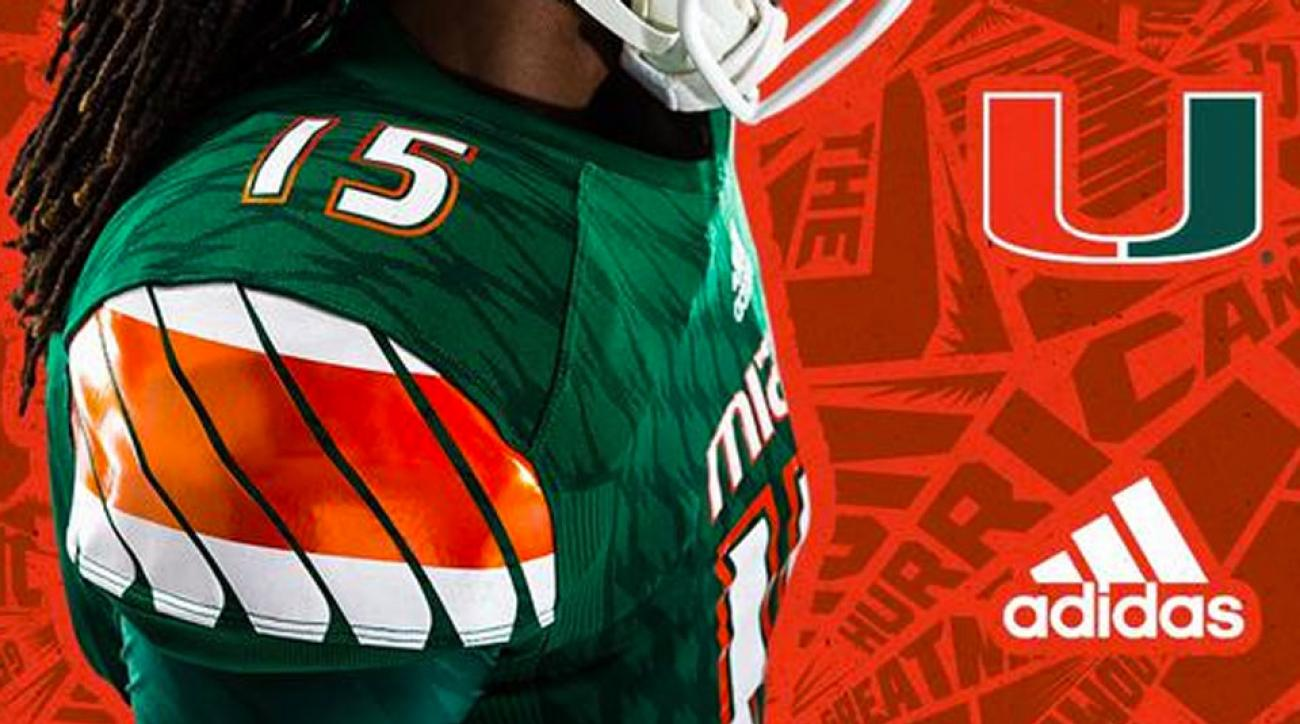 adidas miami jerseys helmets uniforms football hurricanes