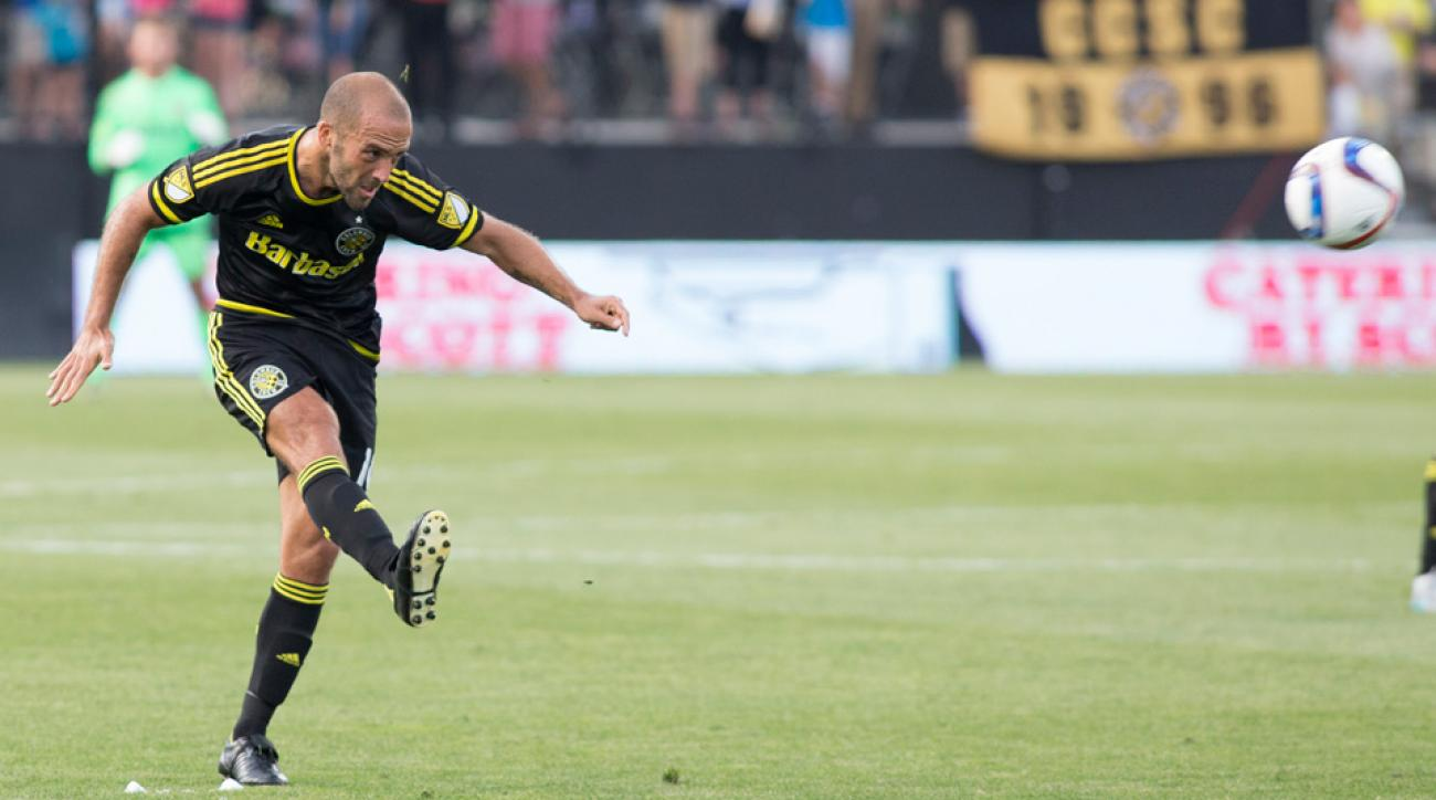 Federico Higuain converted an early penalty for the Columbus Crew against the Chicago Fire