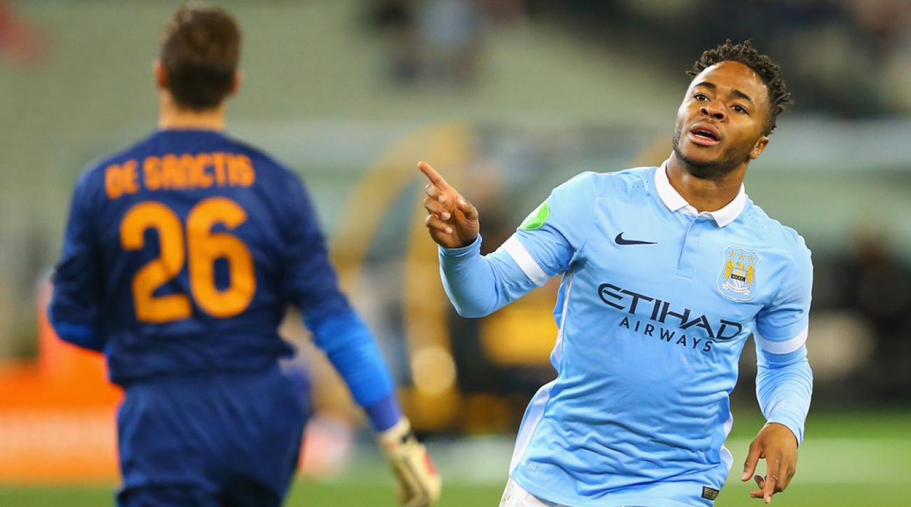 Raheem Sterling celebrates a goal for Manchester City against AS Roma