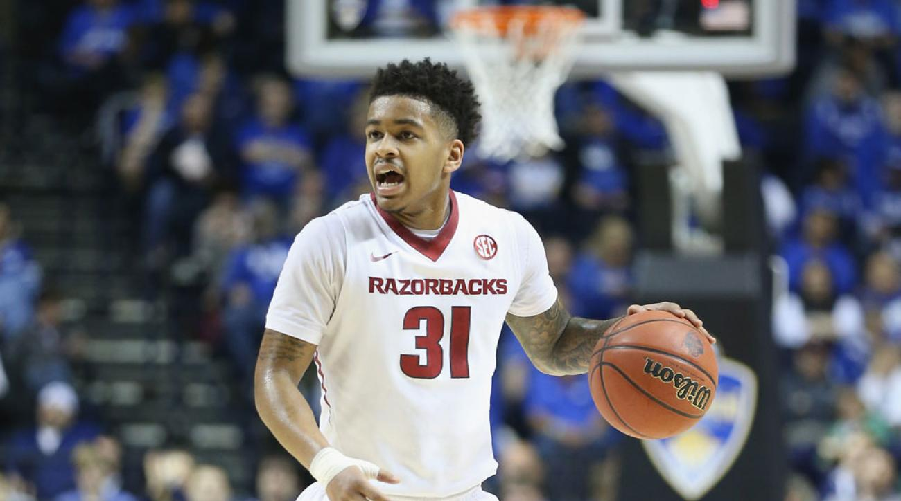 Anton Beard (pictured) was one of three Arkansas basketball players arrested Wednesday on forgery charges.