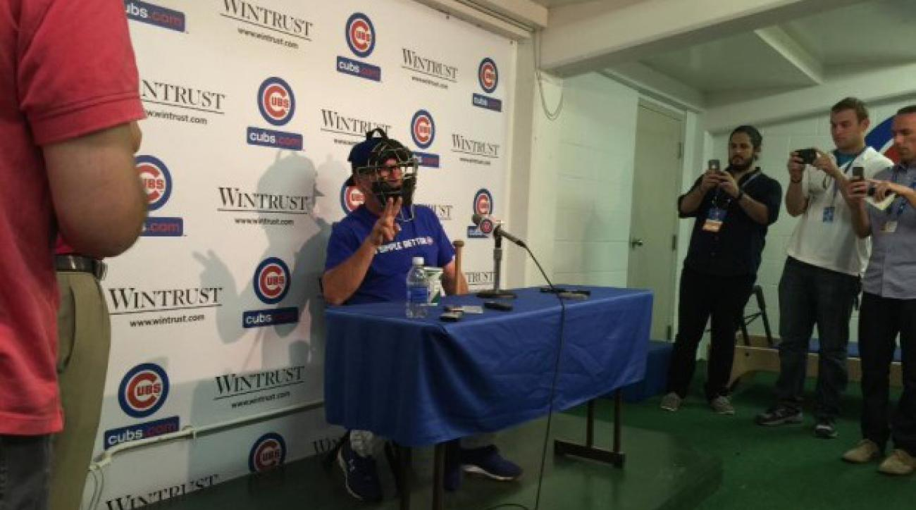 joe maddon catchers mask press conference fight