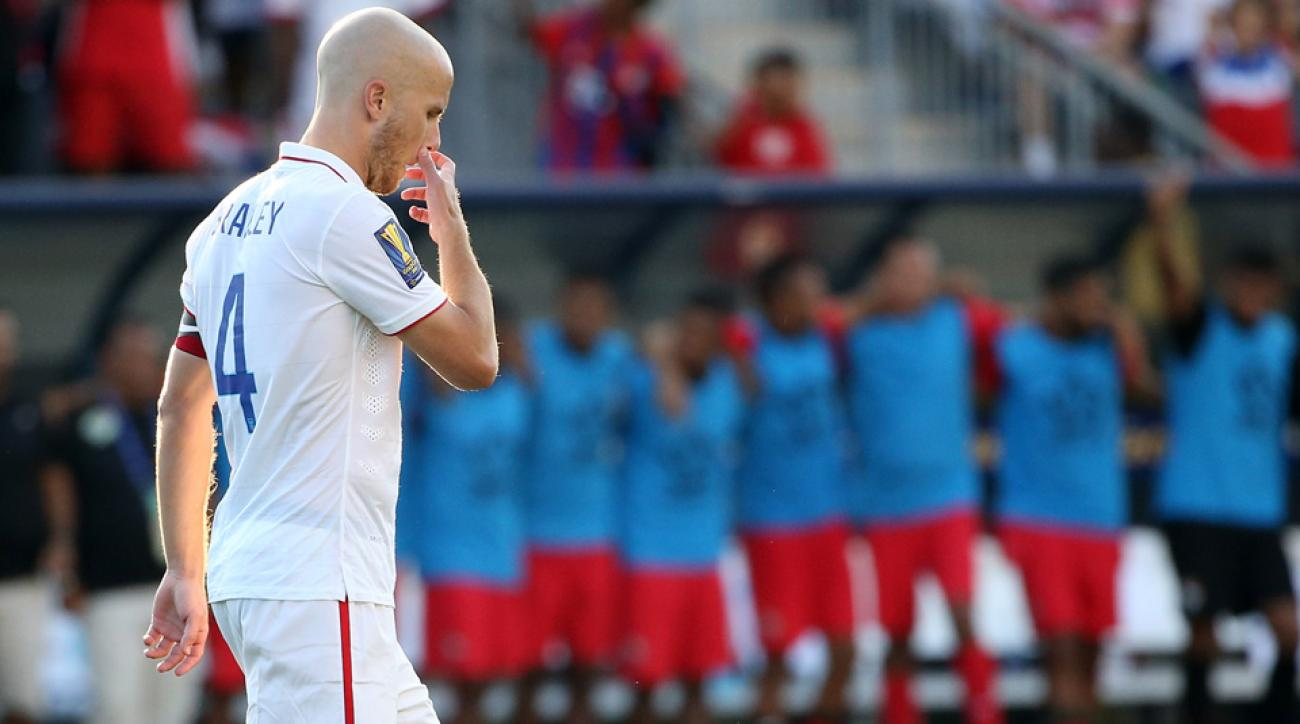 Michael Bradley walks away after having a PK saved in the Gold Cup shootout between USA and Panama