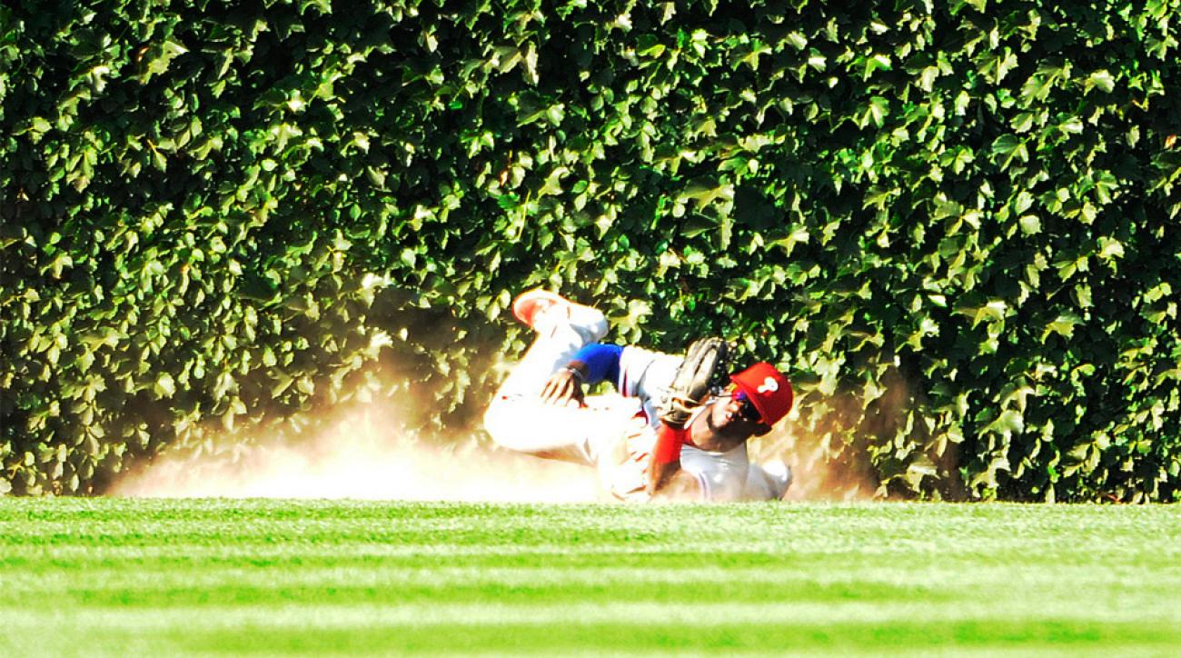 Odubel Herrera Philadelphia Philies Cole Hamels save no hitter great catch