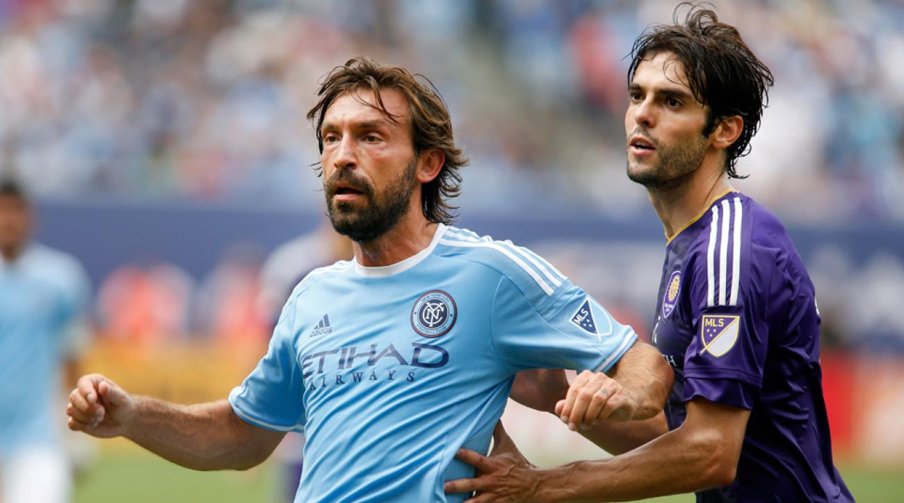 Andrea Pirlo plays against former AC Milan teammate Kaka in his MLS debut for New York City FC